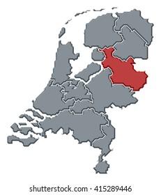 Map - Netherlands, Overijssel