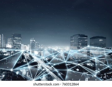 Map of network connection and internet communication on the modern city
