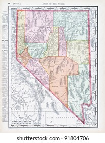 A map of Nevada, USA from Spofford's Atlas of the World, printed in the United States in 1900, created by Rand McNally & Co.