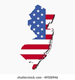 Map of New Jersey with American flag illustration JPEG