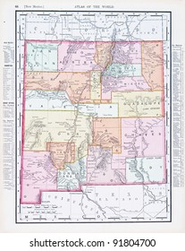 A map of New Mexico, USA from Spofford's Atlas of the World, printed in the United States in 1900, created by Rand McNally & Co.