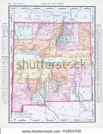New Mexico On World Map.Map New Mexico Usa Spoffords Atlas Stock Photo Edit Now 91804700