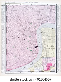 A map of New Orleans, Louisiana, USA from Spofford's Atlas of the World, printed in the United States in 1900, created by Rand McNally & Co.