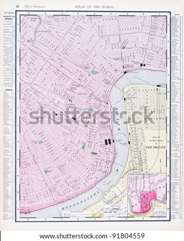 Louisiana New Orleans Map.Map New Orleans Louisiana Usa Spoffords Stock Photo Edit Now