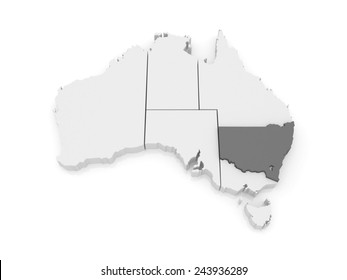 Map of New South Wales. Australia. 3d