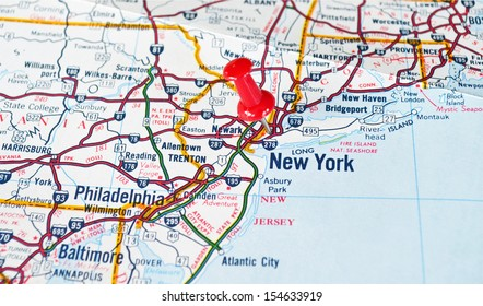 Map of New York City, NY with Red Push Pin