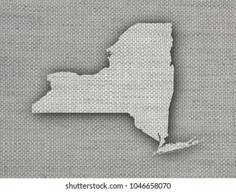 Map of New York on old linen