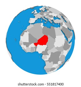 Map of Niger highlighted in red on globe. 3D illustration isolated on white background.