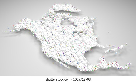 Map of North America   3d Rendering, mosaic of little bricks - White and harlequin colors