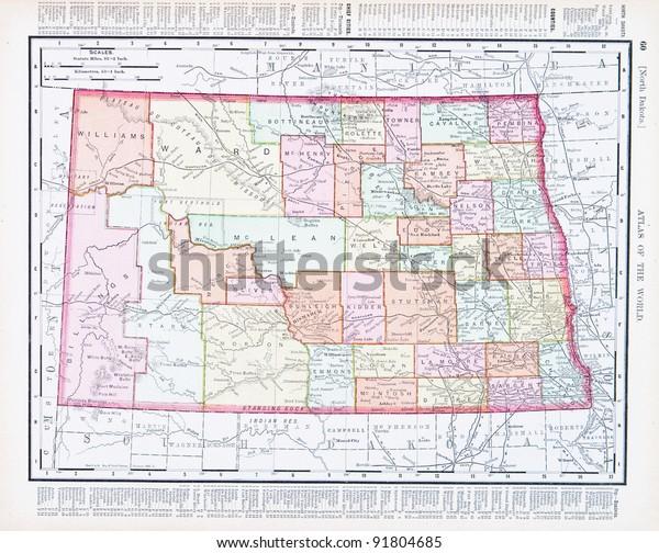 Map North Dakota Usa Spoffords Atlas Stock Photo (Edit Now ...