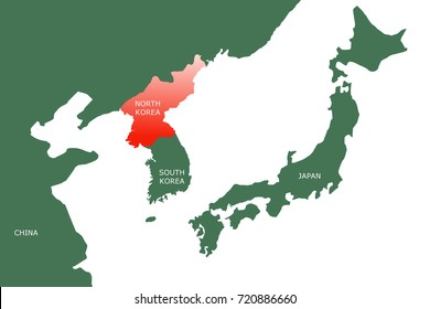 A map of North East Asia showing the two countries in the Korean Peninsula (North Korea and South Korea).