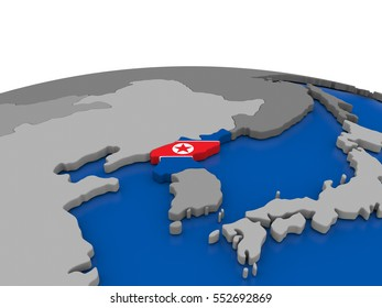 Map of North Korea with embedded flag on globe. 3D illustration