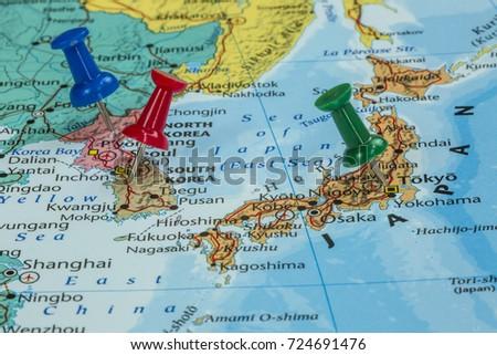 Map North Korea South Korea Japan Stockfoto (Jetzt bearbeiten ...