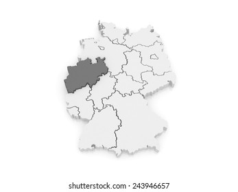 Map of North Rhine-Westphalia. Germany. 3d