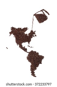 Map of North and South America Made of Coffee Beans with Pot