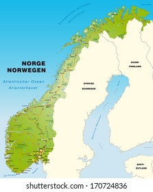 Map of Norway with highways