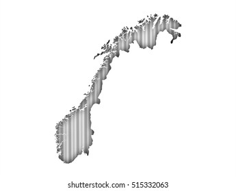 Map of Norway on corrugated iron