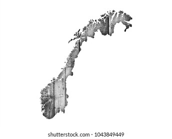 Map of Norway on wood