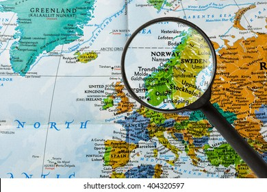 map of Norway through magnifying glass