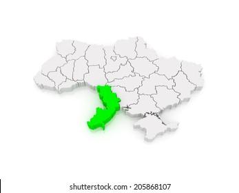 Map of Odessa region. Ukraine. 3d