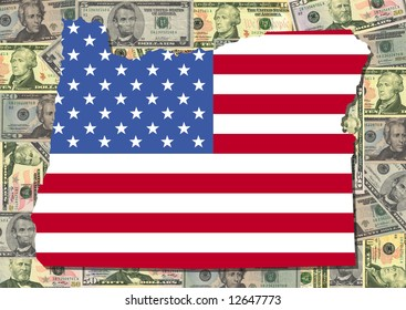 Map of Oregon with American flag and dollars illustration