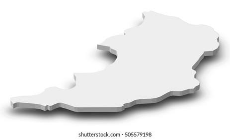 Map - Oudomxay (Laos) - 3D-Illustration
