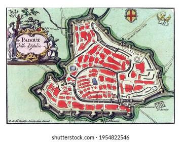 Map of Padua, vintage engraving.