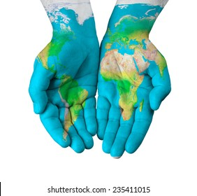 Map painted on hands isolated on white background