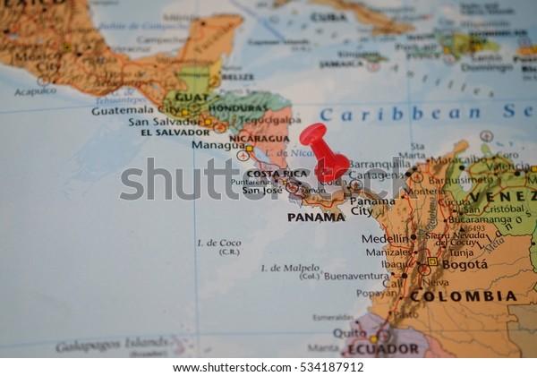 Map Panama City Panama Red Pin Stock Photo (Edit Now) 534187912