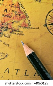Map and pencil