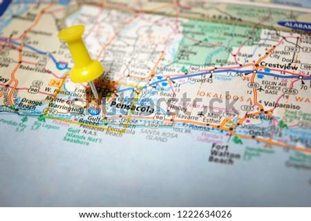 Map Florida Pensacola.Map Pensacola Florida Marked Push Pin Stock Photo Edit Now
