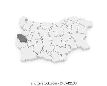 Map of Pernik region. Bulgaria. 3d