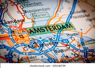 Map Photography: Amsterdam City on a Road Map