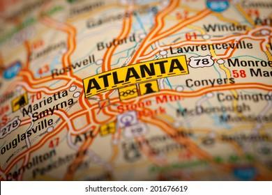 Map Photography: Atlanta City on a Road Map