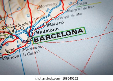 Map Photography: Barcelona city on a road map