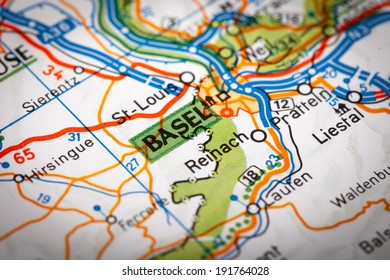 Map Photography: Basel City on a Road Map