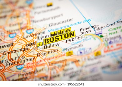 Map Photography: Boston City on a Road Map