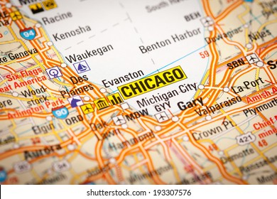 Map Photography: Chicago City on a Road Map