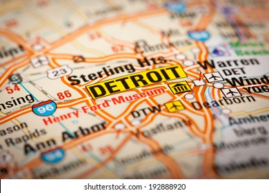 Map Photography: Detroit City on a Road Map