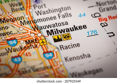 Map Photography: Milwaukee City on a Road Map