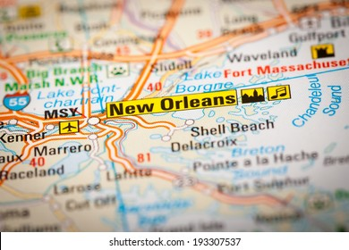 Map Photography: New Orleans City on a Road Map