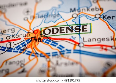 Map Photography: Odense City on a Road Map