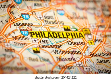 Map Photography: Philadelphia City on a Road Map