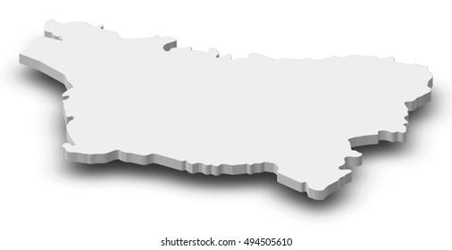 Map - Picardy (France) - 3D-Illustration
