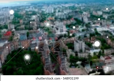 Map pin flat above blue tone city scape and network connection concept