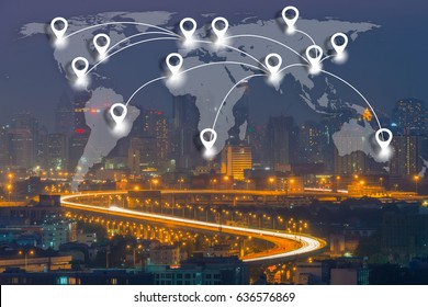 Map pin flat network conection on world global Cartography Globalization with cityscape business district background.