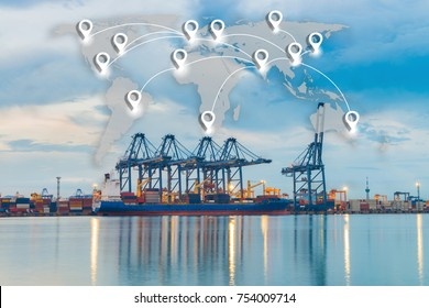 Map pin flat network conection on world global logistics and transportation connection of industrial port with containers cargo ship background.