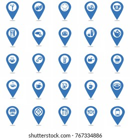 map pin  icon for different types of food products