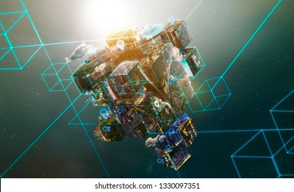 Map pin icon on puzzle cube Earth planet with smart connection network autonomous transportation system . Futuristic transportation concept .