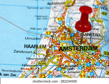 Map with pin point of Amsterdam in Netherlands